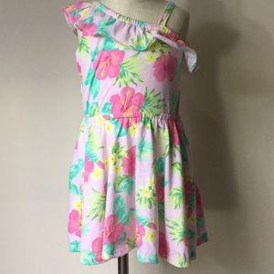 Kids one shoulder floral print dress NWOT